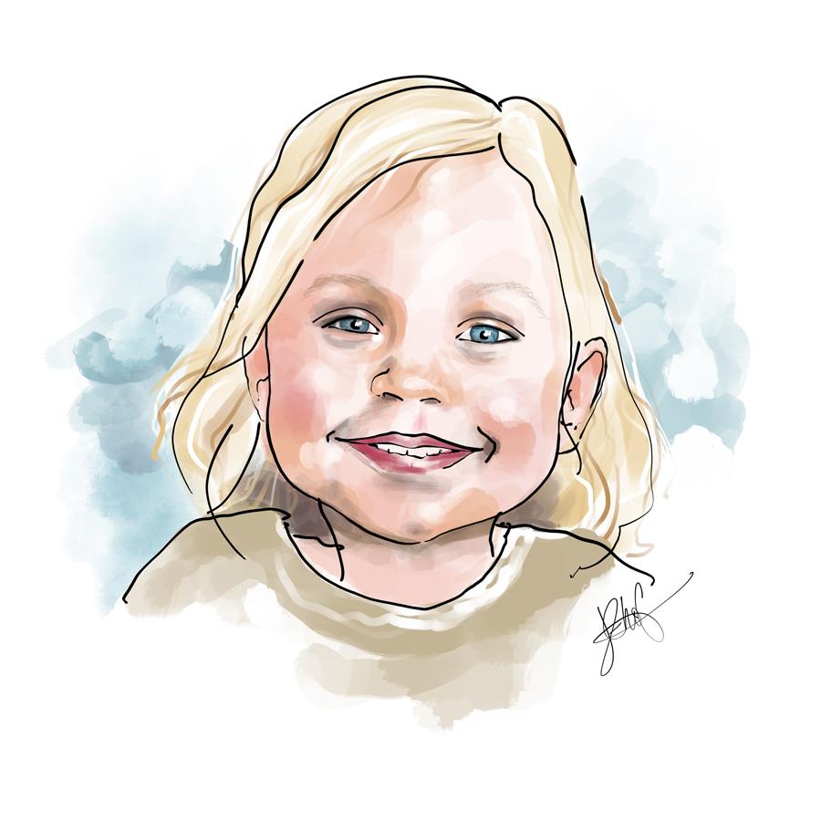 getekend portret meisje